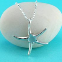 Starfish Pendant with Aqua Sea Glass