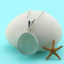 Perfect Shape Sea Foam Sea Glass Pendant