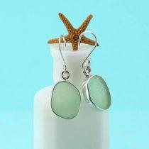 Ocean Green Sea Glass Earrings