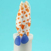 Long Cornflower Blue Sea Glass Earrings