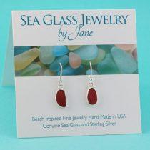 Cute Bright Red Sea Glass Earrings