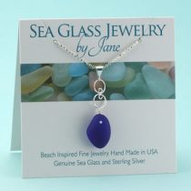 Cobalt Blue Sea Glass Pendant with Silver Accent