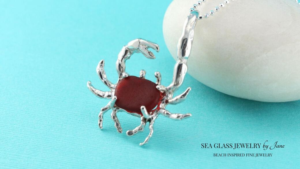 Large Red Sea Glass Crab Pendant/Necklace | Authentic | Original