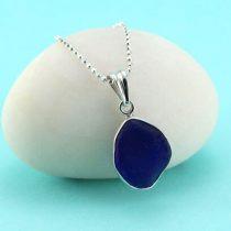 Cobalt Blue Sea Glass Pendant Bezel Set with Sterling Silver Necklace
