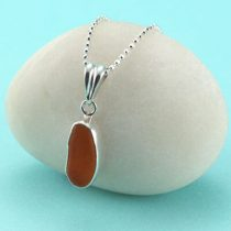 Orange Sea Glass Pendant