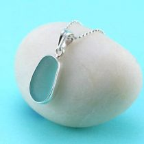 Aqua Sea Glass Bezel Set Pendant