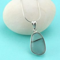 Gray Sea Glass Bezel Set Pendant/Necklace