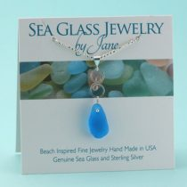 Electric Blue Sea Glass Pendant