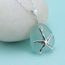 Aqua Sea Glass Starfish Pendant