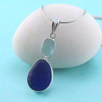 Cobalt Blue and Aqua Sea Glass Bezel Set Pendant
