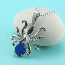 Cobalt Blue Sea Glass Octopus Pendant