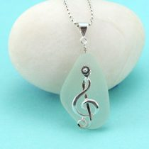 Sea Foam Green Sea Glass Pendant with Treble Clef Charm