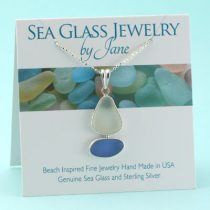 Cornflower Blue and White Sea Glass Sailboat Pendant