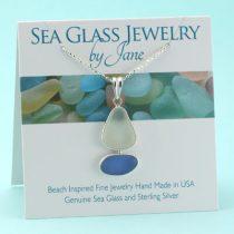 Cornflower Blue and White Sea Glass Sailboat Pendant