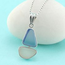 Pink and Blue Sea Glass Sailboat Pendant