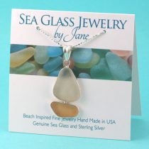 Pink and White Sea Glass Sailboat Pendant