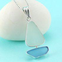 Cornflower Blue & White Sea Glass Sailboat Pendant