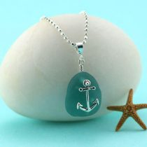 Aqua Teal Sea Glass Pendant with Anchor Charm