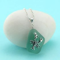 Deep Aqua Teal Sea Glass Pendant with Lobster Charm