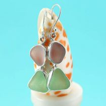 Lavender & Ocean Green Sea Glass Earrings