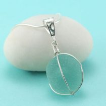 Aqua Sea Glass Insulator Pendant