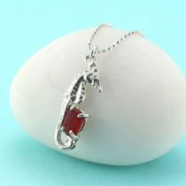 Red Sea Glass Seahorse Pendant