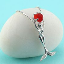 Red Orange Sea Glass Mermaid Pendant