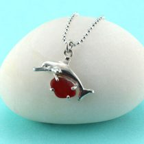 Red Sea Glass Dolphin Pendant