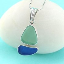 UV Green & Cobalt Blue Sea Glass Sailboat Pendant