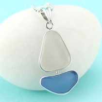 Blue and White Sea Glass Sailboat Pendant