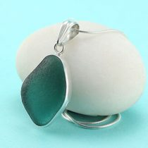 Unusual Deep Aqua Teal Sea Glass Pendant
