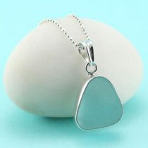 Pretty Aqua Sea Glass Pendant Bezel Set