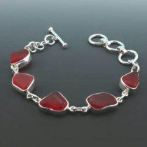 Rare Red Sea Glass Bezel Set Bracelet