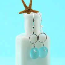 Aqua Sea Glass Earrings with Accent