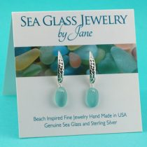 Deep Aqua Sea Glass Designer Earrings
