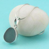 Deep Gray Sea Glass Pendant & Necklace