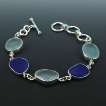 Cobalt Blue & Aqua Sea Glass Bezel Set Bracelet