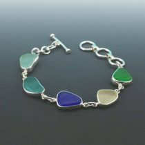 Wondrous Colors Sea Glass Bezel Set Bracelet