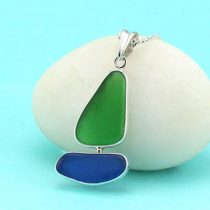 Bright Green and Cobalt Blue Sea Glass Bezel Set Sailboat