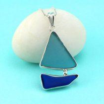 Large Aqua and Cobalt Blue Sea Glass Sailboat Pendant