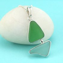Green & Aqua Sea Glass Sailboat Pendant