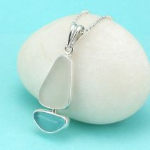 Sweet Aqua & White Sea Glass Sailboat Pendant
