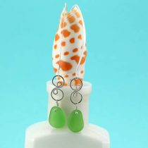 Long & Lively Lime Green Sea Glass Earrings