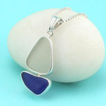 Cobalt Blue & White Sea Glass Sailboat Pendant