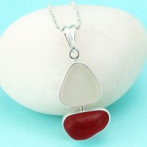 Red & White Sea Glass Sailboat Pendant