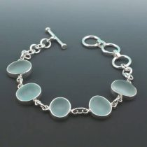 Gorgeous Pale Aqua Sea Glass Bezel Set Bracelet