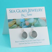E523 Smoky Gray Sea Glass Earrings