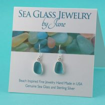 Rare Deep Aqua Sea Glass Earrings