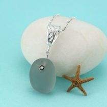 Deep Gray Sea Glass Pendant with Accent