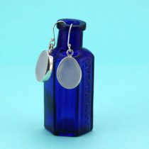 Perfect White Sea Glass Bezel Set Earrings